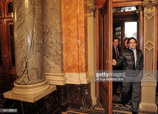 Peruvian operatic tenor Juan Diego Florez steps into the National State Oper in Budapest on November 27 prior to his international press conference...