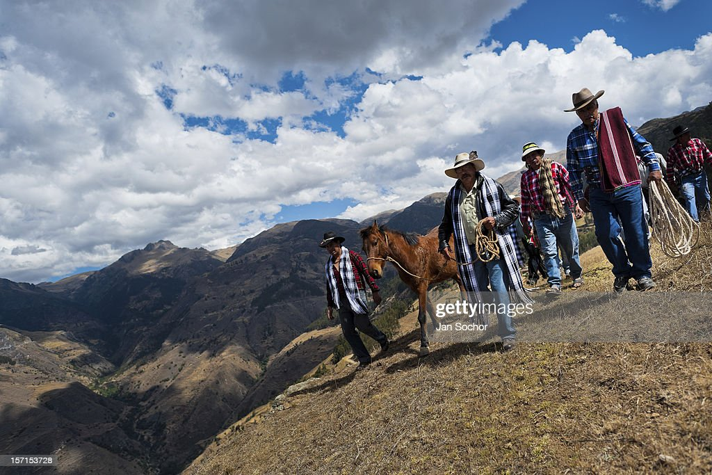 Peruvian peasants lead a horse during a ceremony prior to the Yawar Fiesta, a ritual fight between the condor and the bull, held in the mountains of Apurímac, on 28 July 2012 in Cotabambas, Peru. The Yawar Fiesta (Feast of Blood), an indigenous tradition which dates back to the time of the conquest, consists basically of an extraordinary bullfight in which three protagonists take part - a wild condor, a wild bull and brave young men of the neighboring communities. The captured condor, a sacred bird venerated by the Indians, is tied in the back of the bull which is carefully selected for its strength and pugnacity. A condor symbolizes the native inhabitants of the Andes, while a bull symbolically represents the Spanish invaders. Young boys, chasing the fighting animals, wish to show their courage in front of the community. However, the Indians usually do not allow the animals to fight for a long time because death or harm of the condor is interpreted as a sign of misfortune to the community.