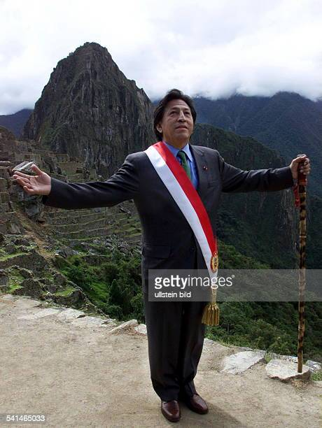 ALEJANDRO TOLEDO Peruvian politician Photographed at the ruins of Machu Picchu following his inauguration as President of Peru