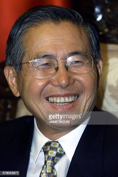 Peruvian President Alberto Fujimori reelected 28 May speaks at the Government Palace in Lima during an exclusive AFP interview 01 June 2000 ELECTO El...