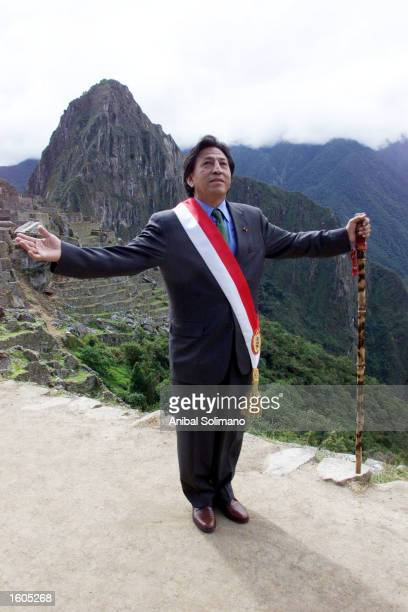 Peruvian President Alejandro Toledo poses for a photograph July 29 2001 in Machu Picchu Peru Peru''s first democratically elected president of Indian...
