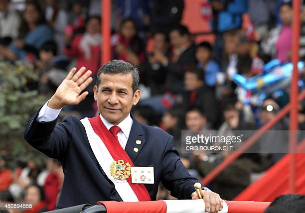 Peruvian President Ollanta humala participates in the traditional military parade commemorating the 193rd anniversary of the country's independence...