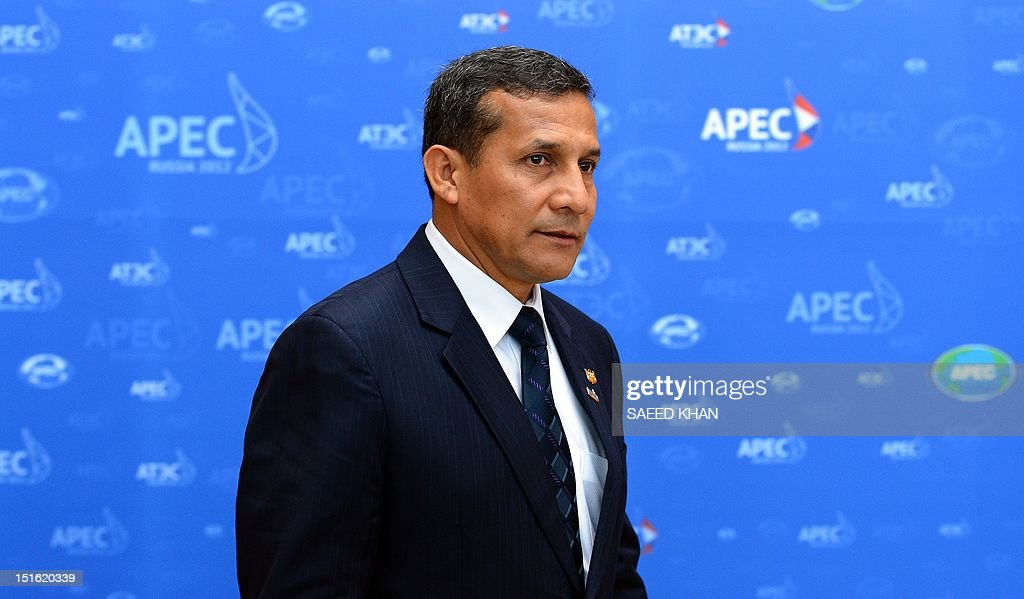 Peruvian President Ollanta Humala Tasso arrives for a round table meeting at the Asia-Pacific Economic Cooperation (APEC) summit in Russia's far eastern port city Vladivostok on September 9, 2012. AFP PHOTO / Saeed Khan