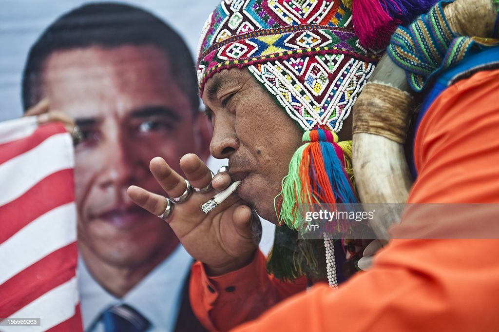 A Peruvian shaman makes a ritual of predictions for the 2012 US election, at San Cristobal hill in Lima, on November 05, 2012.