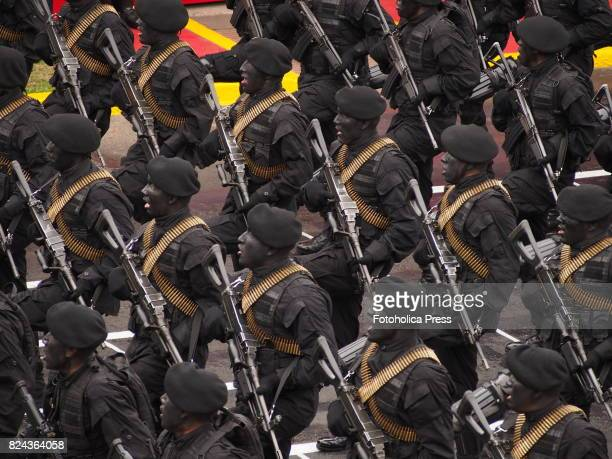 Peruvian soldiers marching on Military parade commemorating 196th anniversary of Peruvian independence