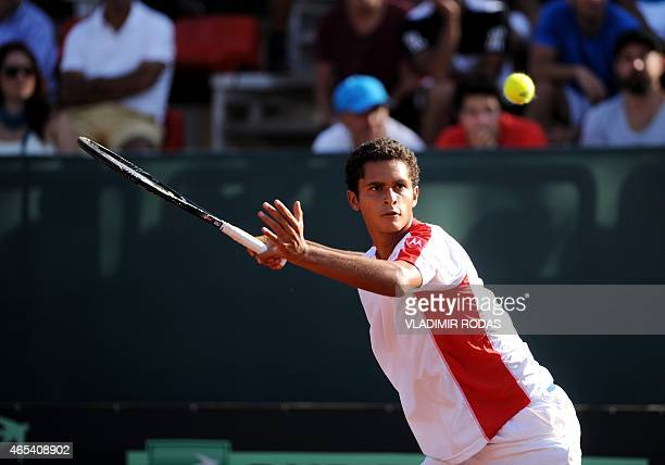 Peruvian tennis player Pablo Varillas returns the ball during his Copa Davis match against Chilean Nicolas Jarry in Santiago on March 6 2015 AFP...
