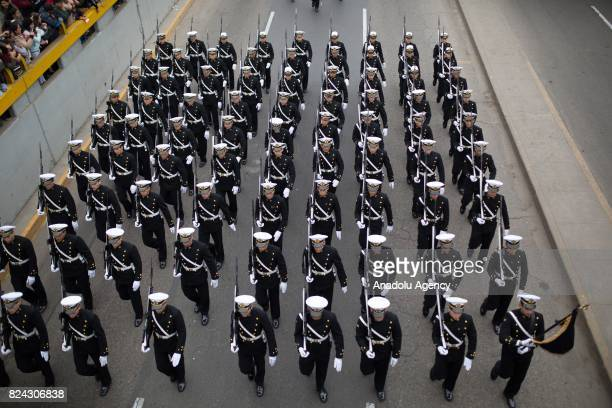 Peruvian troops march as they perform a military parade within the celebrations for Peru's Independence Day in Lima Peru on July 29 2017