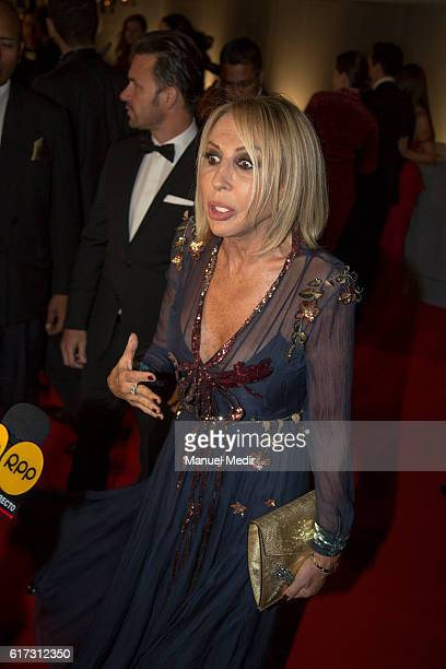 Peruvian tv host Laura Bozzo talks to the media during Gala MATE 2016 for the inauguration of new display spaces and exhibitions at MATE on October...