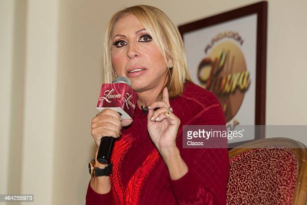 Peruvian TV presenter Laura Bozzo talks to the media during the presentation of her Foundation at Four Seasons Hotel on January 21 2014 in Mexico...