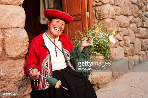 Peruvian woman spinning wool, The Sacred Valley, Chinchero