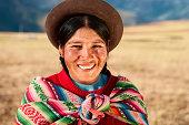'Peruvian woman wearing national clothing, The Sacred Valley'