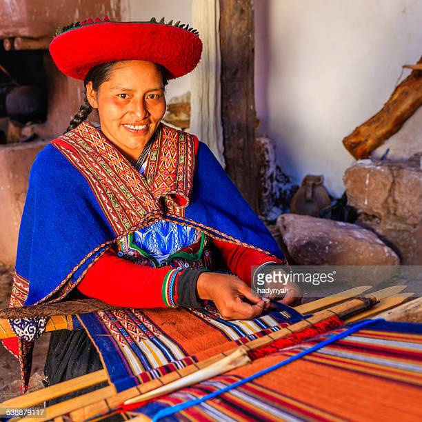Mulher Peruana tecer, a sagrada vale, Chinchero