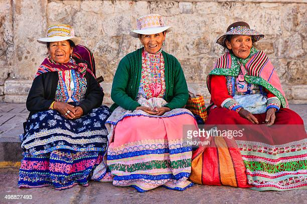 Peruvian women in national clothing, Chivay, Peru