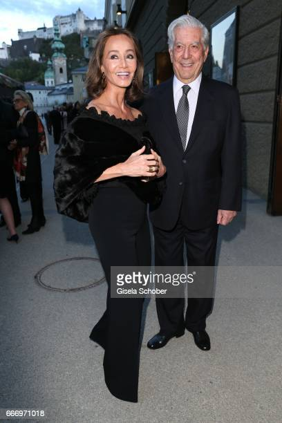 Peruvian writer and Nobel Prize winner Mario Vargas Llosa and Isabel Preysler during the Easter Festival on April 10 2017 in Salzburg Austria