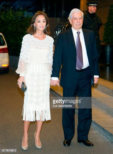 Peruvian writer Mario Vargas Llosa arrives at Villa Magna Hotel with his couple Isabel Preysler for a dinner to celebrate his 80th birthday in Madrid...