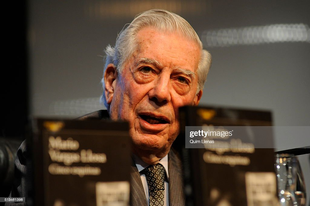 Peruvian writer <a gi-track='captionPersonalityLinkClicked' href=/galleries/search?phrase=Mario+Vargas+Llosa&family=editorial&specificpeople=620765 ng-click='$event.stopPropagation()'>Mario Vargas Llosa</a>, awarded with the Nobel Prize for literature in 2010, presents his new book 'Cinco Esquinas' (Five Corners) in the House of America on March 1, 2016 in Madrid, Spain.