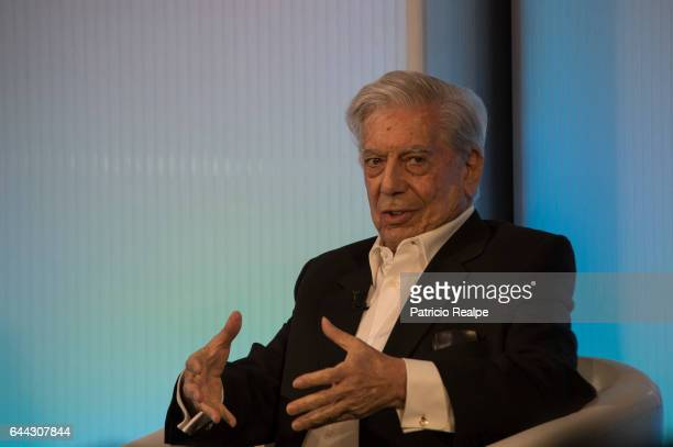 Peruvian writer Mario Vargas Llosa gestures during a meeting with President of Argentina Mauricio Macri at Casa de America on February 23 2017 in...
