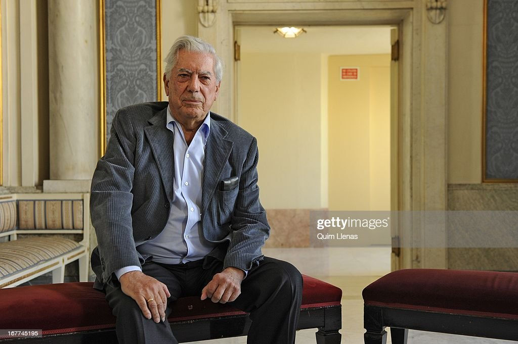 Peruvian writer <a gi-track='captionPersonalityLinkClicked' href=/galleries/search?phrase=Mario+Vargas+Llosa&family=editorial&specificpeople=620765 ng-click='$event.stopPropagation()'>Mario Vargas Llosa</a> poses for a photo shoot after the press conference for his play 'La Chunga' at Espanol Theatre on April 24, 2013 in Madrid, Spain.