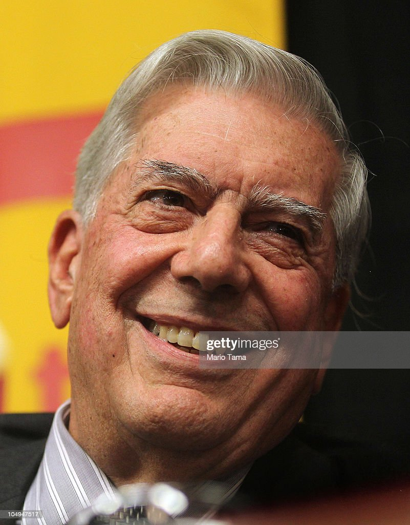 vian writer mario vargas llosa receives nobel prize for vian writer mario vargas llosa smiles at a press conference at instituto cervantes after he won
