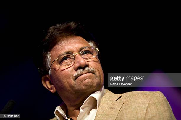 Pervez Musharraf former President of Pakistan discusses the volatility of the region on stage at The Hay Festival on May 30 2010 in HayonWye Wales