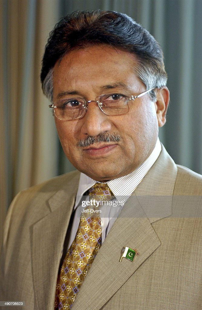 <a gi-track='captionPersonalityLinkClicked' href=/galleries/search?phrase=Pervez+Musharraf&family=editorial&specificpeople=121550 ng-click='$event.stopPropagation()'>Pervez Musharraf</a> - Pakistan President, image taken after an interview with Sir David Frost on 22nd June 2003. Breakfast with Frost.