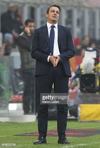 Pescara Calcio coach Massimo Oddo shows his dejection during the Serie A match between AC Milan and Pescara Calcio at Stadio Giuseppe Meazza on...