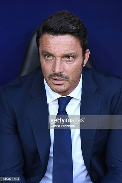 Pescara Calcio head coach Massimo Oddo looks on during the Serie A match between Genoa CFC and Pescara Calcio at Stadio Luigi Ferraris on September...