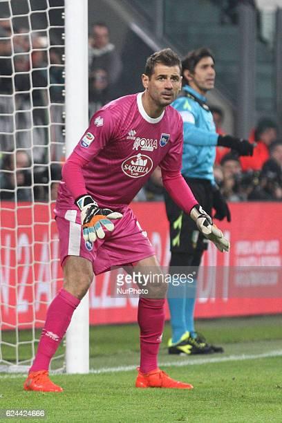 Pescara goalkeeper Albano Bizzarri during the Serie A football match n13 JUVENTUS PESCARA on at the Juventus Stadium in Turin Italy