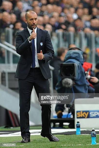 Pescara head coach Cristian Bucchi gestures during the Serie A match between Juventus and Pescara at Juventus Arena on April 6 2013 in Turin Italy