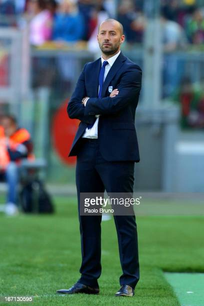 Pescara head coach Cristian Bucchi looks on during the Serie A match between AS Roma and Pescara at Stadio Olimpico on April 21 2013 in Rome Italy