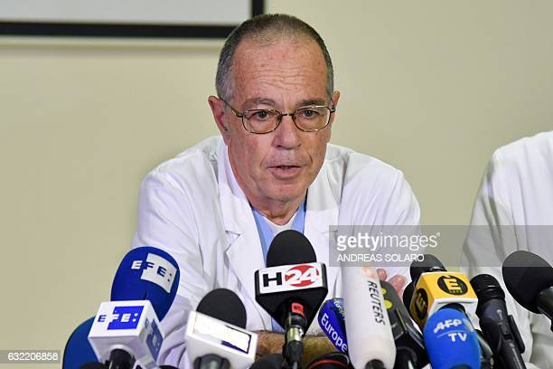 Pescara hospital's Emergency room director Dr Tullio Spina takes part in a press conference on at the Pescara hospital in the eastern coastal city of...