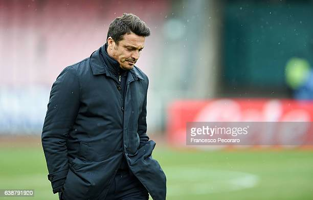 Pescara'u0092s coach Massimo Oddo during the Serie A match between SSC Napoli and Pescara Calcio at Stadio San Paolo on January 15 2017 in Naples...