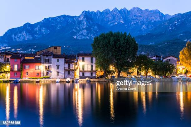 Pescarenico at dusk. Resegone mountain in the background. Lecco, Lake Como, Lombardy