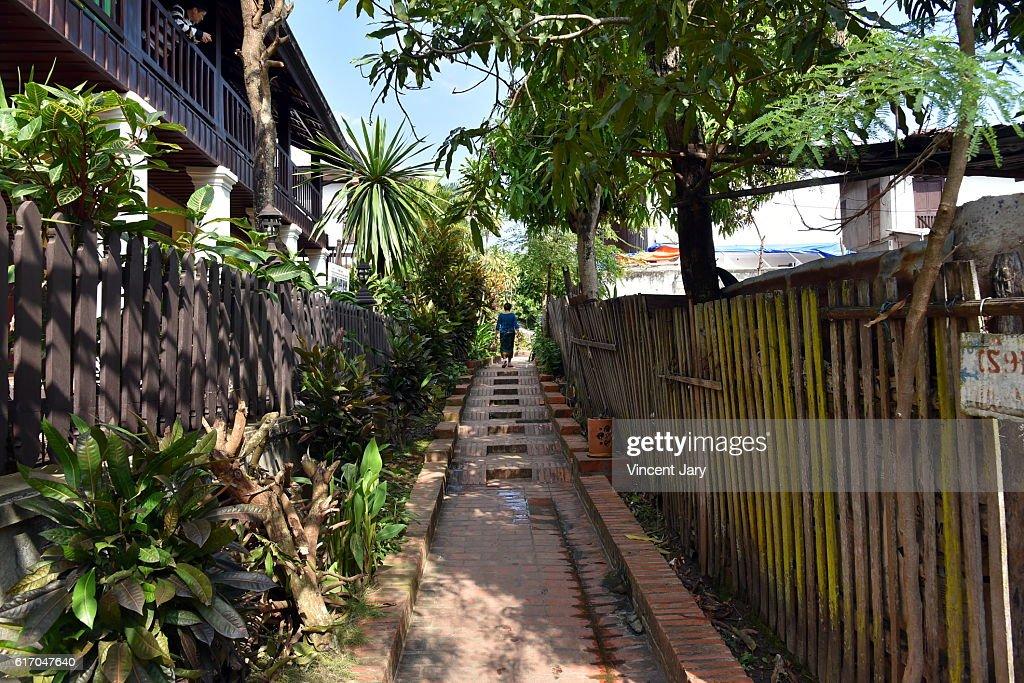 Pesdestrian walkway at luang prabang Laos : Stock Photo
