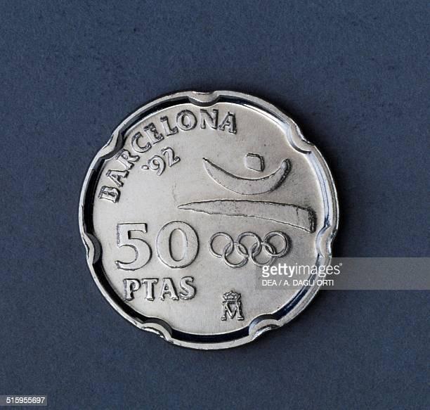 50 pesetas coin XXV Olympiad in Barcelona reverse Spain 20th century