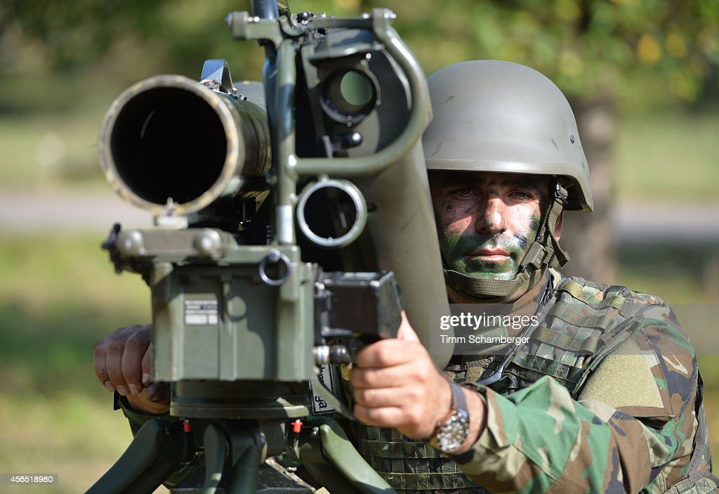 A peshmerga fighter uses milan weapons during training on October 02, 2014 in Hammelburg, Germany. A total of 32 peshmerga soldiers are at the base to train for one week in the use of the weapon before they return to northern Iraq. Germany has delivered to the peshmerga EUR 70 million worth of weaponry, including the Milan system, assault rifles, machine guns, pistols and other military hardware.