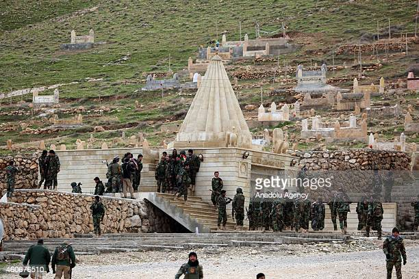Peshmerga fighters departed from the Zommar district and passed through Sinun district of Mosul land near the shrine of Yazidi Sheikh Serafettin on...