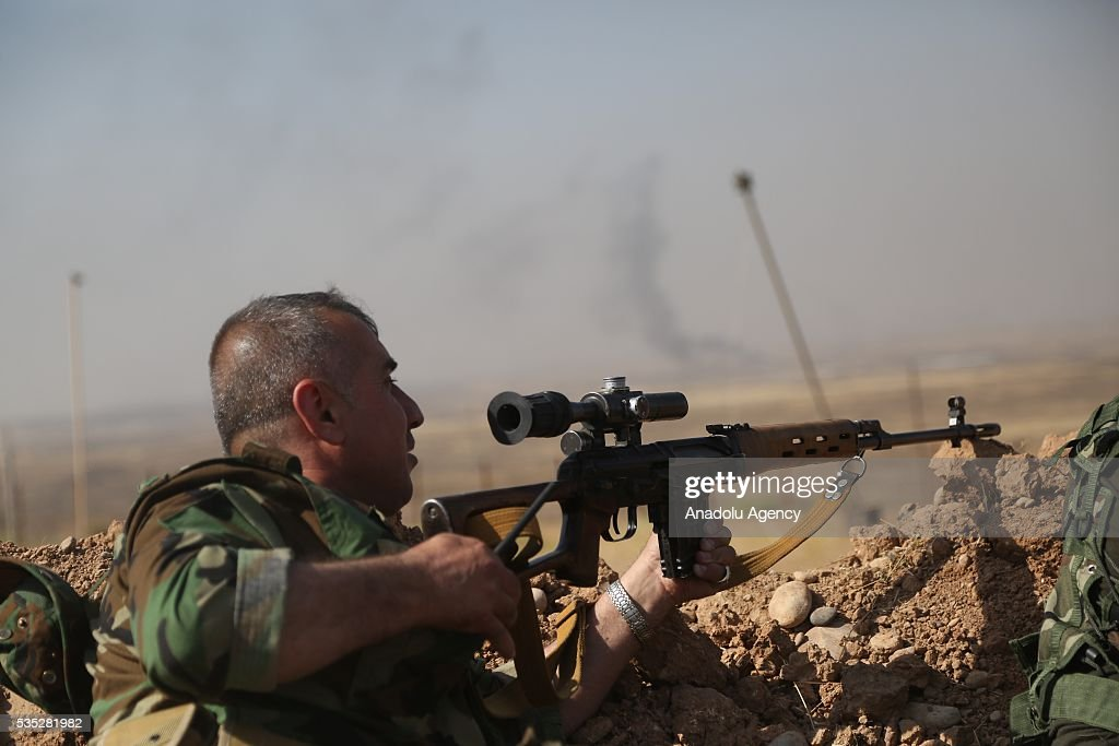 Peshmerga forces conduct an operation against Daesh terrorists in Hazer region Mosul, Iraq on May 29, 2016. Coalition forces support the operation with warcrafts.
