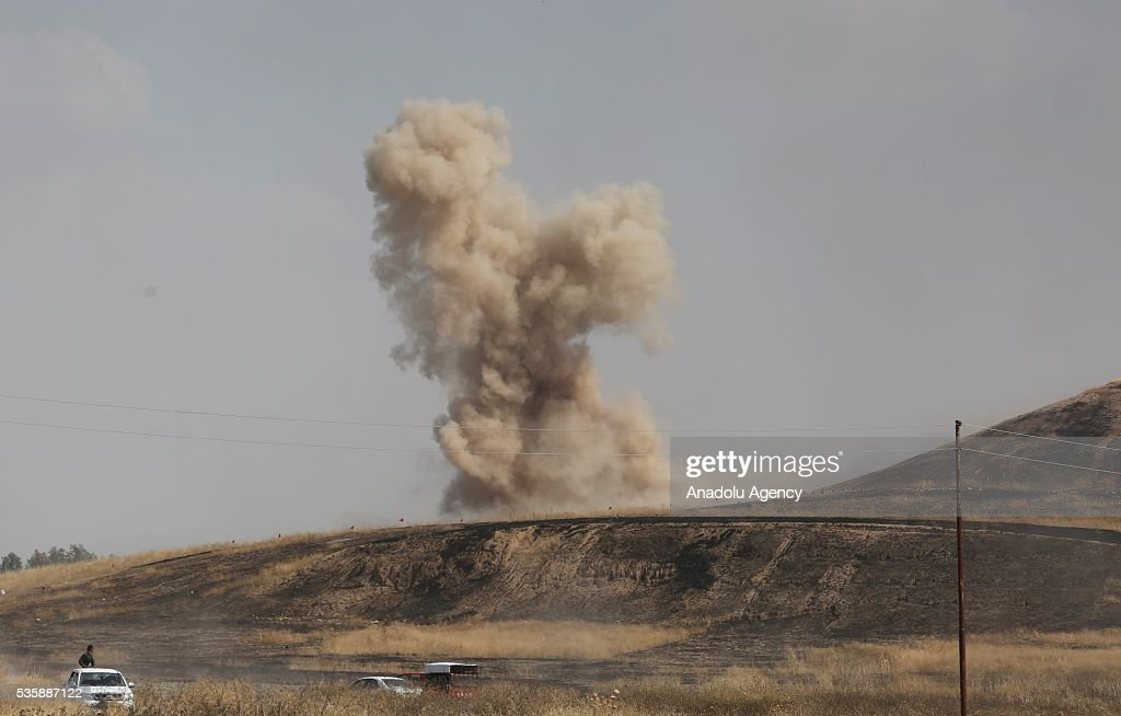 Peshmerga forces detonate the mines placed by Daesh as they conduct an operation against Daesh terrorists in Nineveh, Iraq on May 30, 2016.