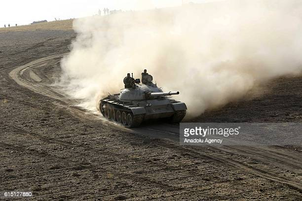 Peshmerga forces dispatch tanks to Rabia and Karbali villages of Mosul as they attack on Deash targets during an operation to liberate Mosul from...