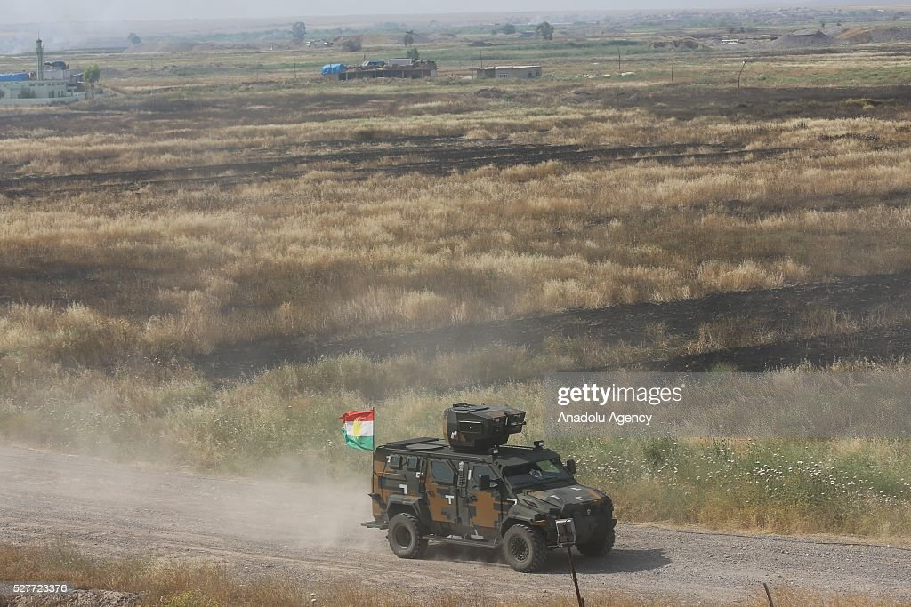 Peshmerga forces patrol after clashes between Daesh and Peshmergas on Guve side of Peshmerga in Mosul's Mahmur district, Iraq on May 3, 2016.
