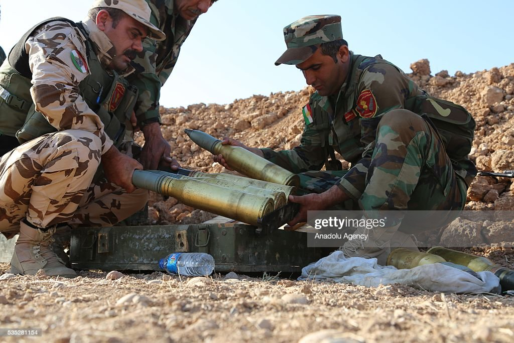 Peshmerga forces prepare for the operation against Daesh terrorists in Hazer region Mosul, Iraq on May 29, 2016. Coalition forces support the operation with warcrafts.