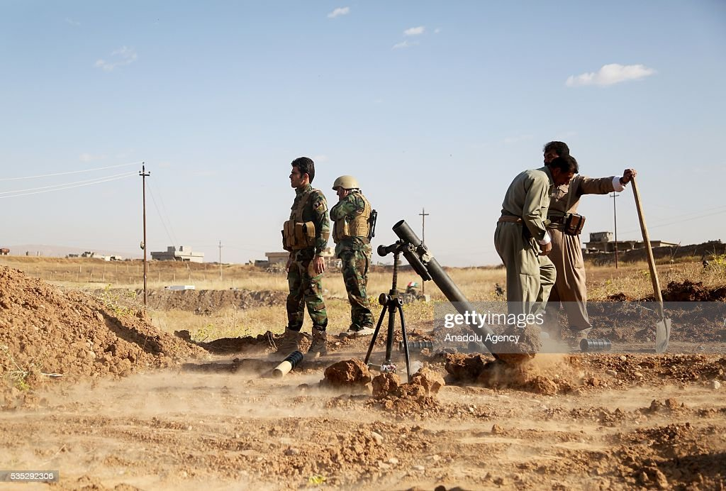 Peshmerga forces use howitzer during an operation against Daesh terrorists in Hazer region Mosul, Iraq on May 29, 2016. Coalition forces support the operation with warcrafts.