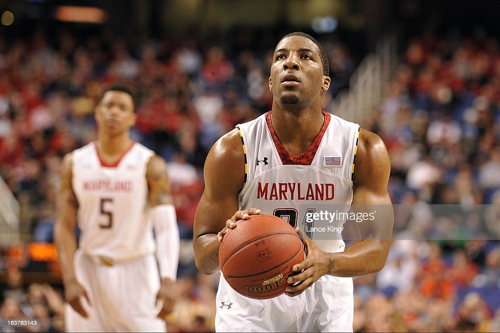 Pe'Shon Howard #21 of the Maryland Terrapins concentrates at the free throw line against the Wake Forest Demon Deacons during the first round of the 2013 Men's ACC Tournament at the Greensboro Coliseum on March 14, 2013 in Greensboro, North Carolina. Maryland defeated Wake Forest 75-62.