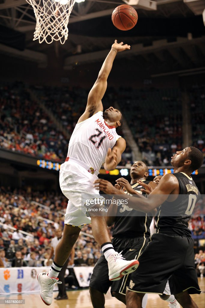 Pe'Shon Howard #21 of the Maryland Terrapins puts up a shot against the Wake Forest Demon Deacons during the first round of the 2013 Men's ACC Tournament at the Greensboro Coliseum on March 14, 2013 in Greensboro, North Carolina. Maryland defeated Wake Forest 75-62.