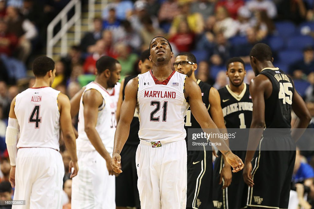 Pe'Shon Howard #21 of the Maryland Terrapins reacts in the second half against the Wake Forest Demon Deacons during the first round of the Men's ACC Basketball Tournament at Greensboro Coliseum on March 14, 2013 in Greensboro, North Carolina.