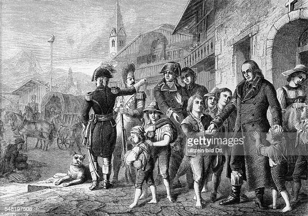 Pestalozzi Johann Heinrich *1201174617021827 Pedagogue and educational reformer Switzerland Saying goodbye to the orphans wood engraving after a...