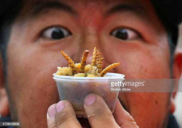 A 'Pestaurant' or temporary bug restaurant was set up in from of Faneuil Hall where people could chow down on food made with bugs Voravut...