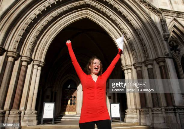 Pesticides campaigner Georgina Downs celebrates outside the High Court London following her victory in a test case to force the Department for the...