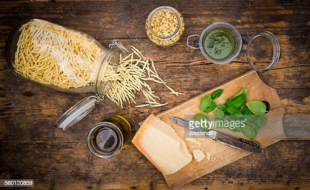 Pesto alla Genovese, Basil, parmesan, pine nuts, olive oil and raw trofie noodles